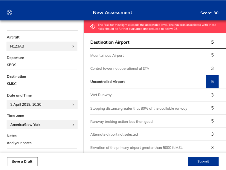 Automatically calculate risk across department activities including flight, maintenance, ground…